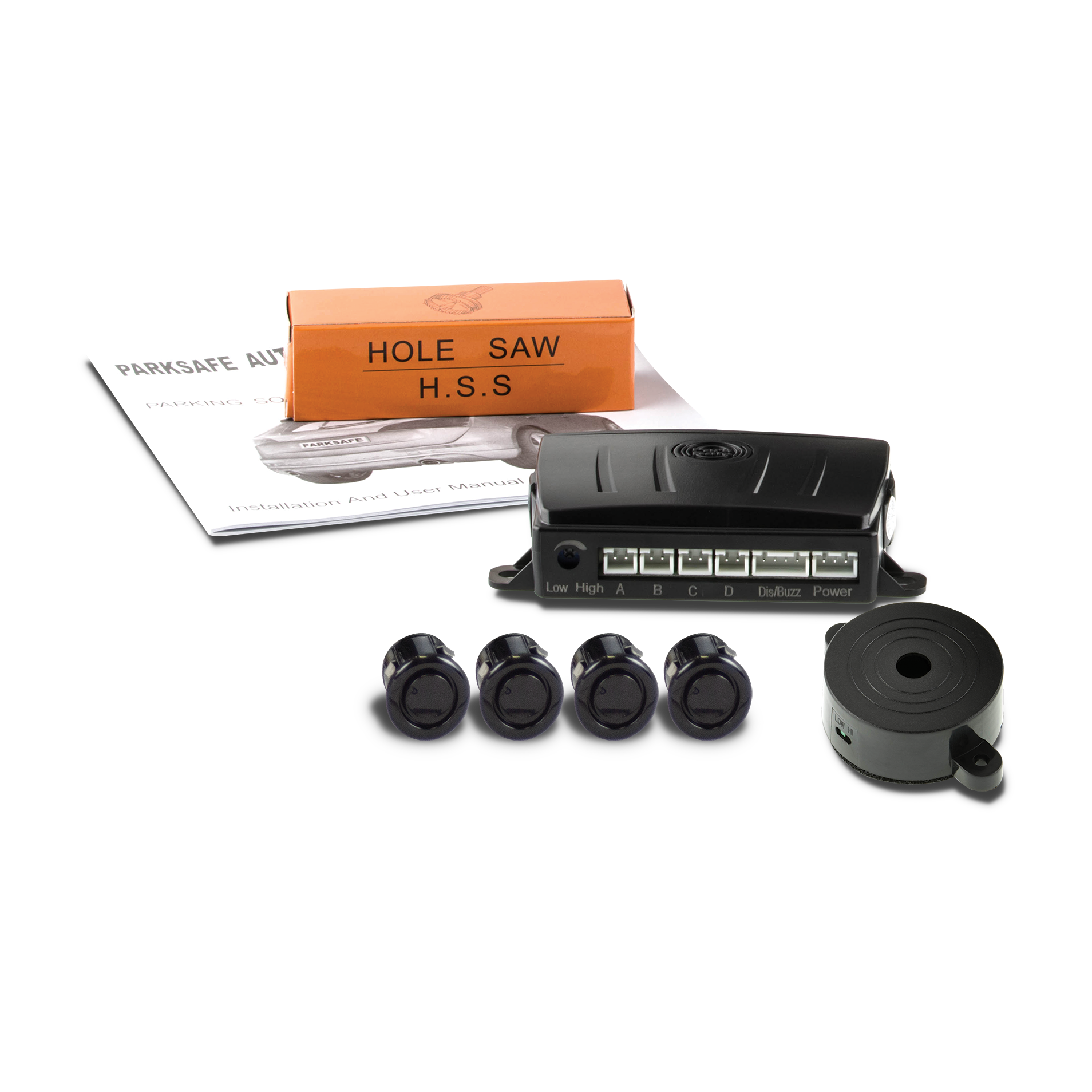 Park Safe PS540 19mm 4 WAY Gloss Black Parking Reversing Sensor Kit 12v//24v